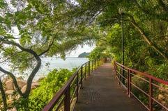 Walkway to beach. Pedestrian walkway to beach with blue skies Stock Image