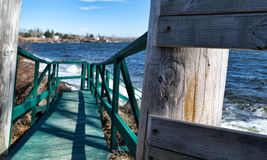Walkway to beach in Searsport Maine Stock Photos