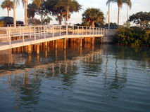 Walkway to the boats. Tie up in St. Petersburg, FL Stock Images