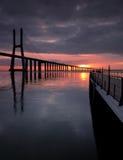 Walkway to the bridge. Vasco da Gama Bridge, the longest bridge in Europe, Lisbon Royalty Free Stock Photos