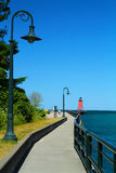 Walkway to the Charlevoix Lighthouse Royalty Free Stock Image