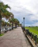 Walkway to el Morro castle at old San Juan, Puerto Rico. Summer day royalty free stock image
