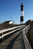 Walkway to Fire Island Lighthouse. The Boardwalk to the Fire Island Lighthouse.Located at Fire Island National Seashore, Long Island, New York Stock Photography