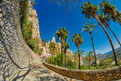 Walkway to Guadalest Castle El Castell de Guadalest in Alicant Stock Photo