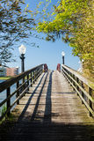 Walkway to island off Ocean City, Maryland. Wooden pathway across pedestrian bridge to island off Ocean City, Maryland, USA stock image