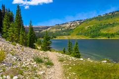 Walkway to the Lake. A walkway to the lake on the mountain Stock Images