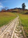 Walkway to monument of Juraj Janosik stock photo