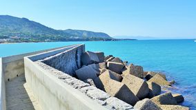 Walkway to the Ocean Cefalu Sicily. Stock Photography
