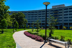 Walkway to Penn State Hershey Medical Center. Hershey, PA - August 22, 2016: Penn State Hershey Medical Center is a large complex that includes a Children`s Royalty Free Stock Images