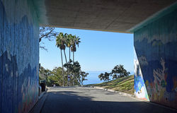 Walkway to Salt Creek Beach Park in Dana Point, California. Image shows a walkway through an underpass to Salt Creek Beach Park in Dana Point, California stock images