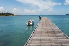 Walkway to speedboat Stock Photos