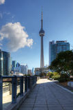 Walkway in Toronto with the CN Tower in background Royalty Free Stock Photos