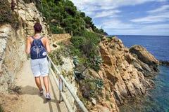 The walkway between Tossa de Mar and Lloret de Mar. Catalonia, Spain. Trekking Royalty Free Stock Photo
