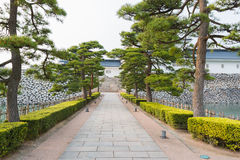 Walkway in toyama castle historic landmark in toyama japan. royalty free stock photography