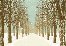 Walkway with trees. Prospect of the alley in a park with various trees on either side and flock of bullfinches. Vector illustration Stock Photo