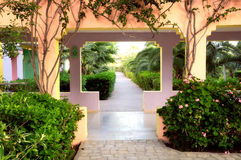 Walkway in a tropical garden Stock Photos