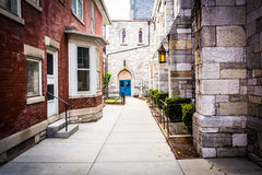 Walkway between two buildings in Harrisburg, Pennsylvania. Royalty Free Stock Photography