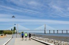 Walkway by the Vasco da Gama Bridge in Lisbon Stock Photography