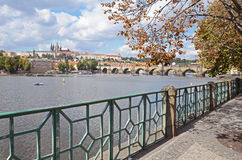 Walkway by the Vltava river, Prague Stock Images