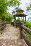 Walkway or walkpath with old pavilion in thailand. Stock Image