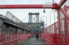 Walkway of Williamsburg Bridge in New York City Stock Image