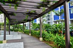 Walkway. Wooden walkway in housing estate, Singapore Royalty Free Stock Photo