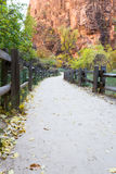 Walkway in Zion NP Stock Photo