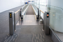 Walkways at the airport for passengers Stock Images