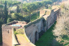 Walkways in the Aurelian Walls of Rome. The Aurelian Walls were constructed between 270 and 275 AD at the behest of the Emperor Aurelian, as a defence for the Stock Photography