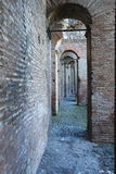 Walkways in the Aurelian Walls of Rome. The Aurelian Walls were constructed between 270 and 275 AD at the behest of the Emperor Aurelian, as a defence for the Stock Photos