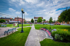 Walkways and gardens in the square in downtown New Oxford, Penns Royalty Free Stock Image