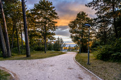 Walkways near a sandy beach of the Baltic Sea Royalty Free Stock Images