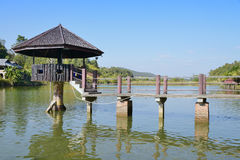 Walkways to pavilion in lake at Wangmatcha. Royalty Free Stock Images