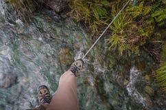 Walkwire, singolo ponte pericoloso POV del cavo Fotografie Stock Libere da Diritti