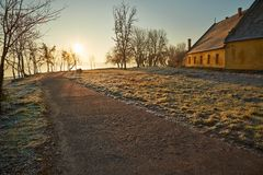 Зима walkwy с заморозком Стоковое Фото