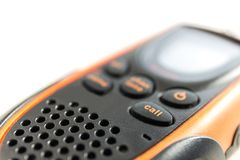 Walky talky on white background. Focus on call botton of walky talky on white background Stock Images
