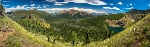 Wall湖谷, Waterton湖NP,加拿大Panoramatic视图  免版税库存图片