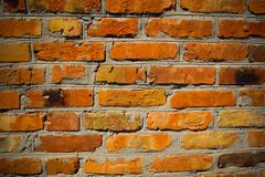 Wall. Old cracked brick red wall stock photography