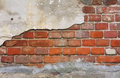 Wall. Part of brick wall from old house stock photography