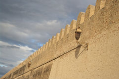 Wall. Ancient brick wall with mosque lanterns in Kairouan Stock Photos