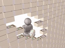 Wall. Gray 3d man near the money wall, white background Royalty Free Stock Images