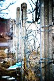 Wall. Wide angle view of an old wall abandoned factory building royalty free stock images