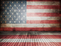 Wall. Flag of usa painted onto a grunge brick wall Stock Photography