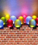 Wall. Twelve colorful LEDs lights behind a wall stock photo