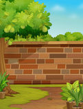 Wall. Illustration of a brick wall in a garden Royalty Free Stock Photos