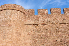 The wall. Castle wall of chinchilla castle, in albacete province (spain Stock Photography