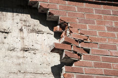 Wall. Damaged brick wall of the building royalty free stock image