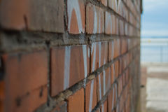 Wall. A brick wall with text stock photo