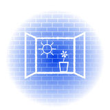 Wall. An illustration of a wall with drawings symbolizing hope Royalty Free Stock Image