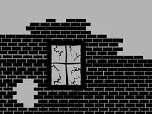 Wall of abandoned and derelect house. Ruin is made of bricks and window. House is destructed and wrecked. Vector illustration Stock Photos